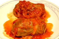 Hungarian Stuffed Cabbage Rolls on a Plate by JaguarJulie