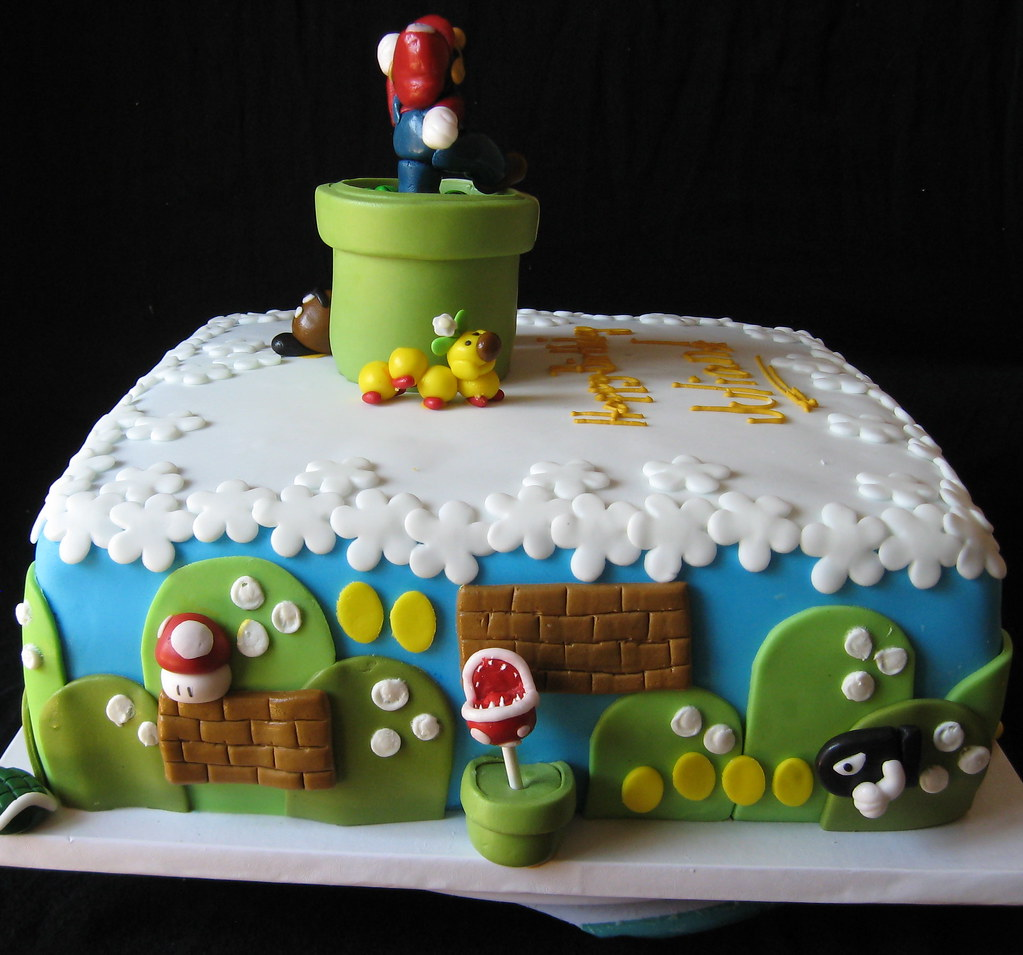 Super Mario Brothers Themed Birthday Cake With Fondant Det Flickr