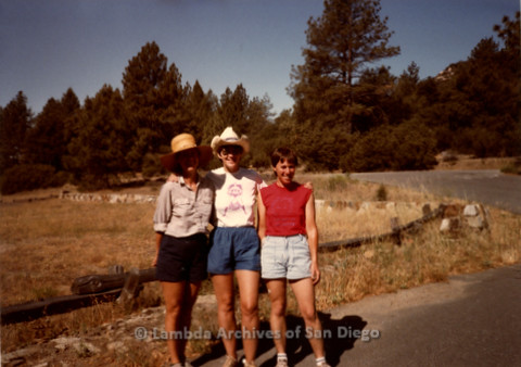 P008.097m.r.t Cuyamaca 1984: Sandy Johnson, Mary Russell, and Toni on the trail