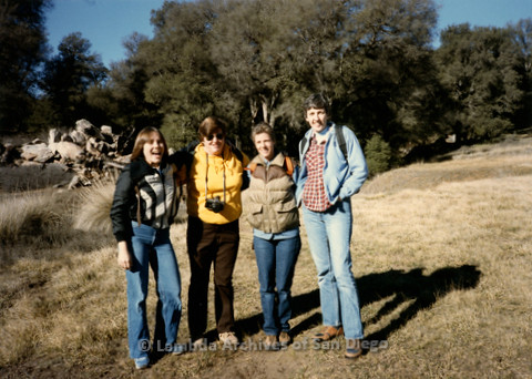 P008.114m.r.t Cuyamaca 1985: Sandy Johnson and three other women on trail