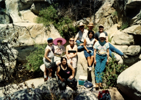 P008.146m.r.t Cuyamaca 1991: Group photo by the river, with Pamela Gusha, Diane F. Germain, Mary Russell, and others