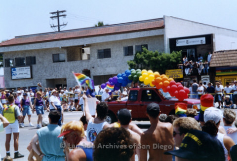 San Diego LGBTQ Pride Parade, July 1995: Spectators watching the parade