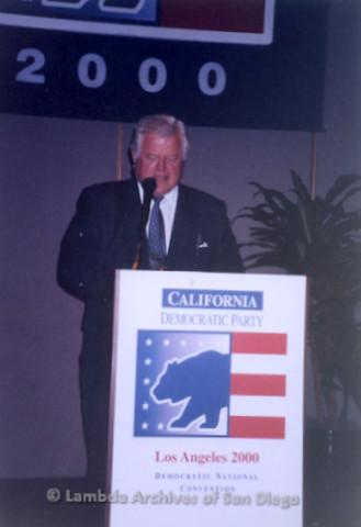 P338.033m.r.t 2000 Democratic National Convention Los Angeles: Senator Edward Kennedy speaking at podium