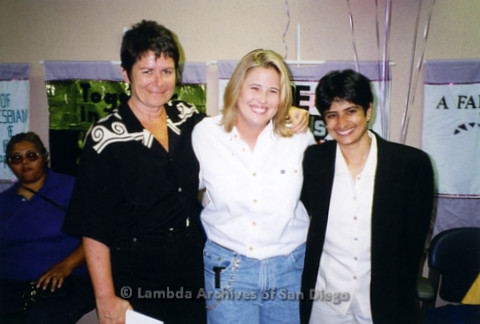 (L to R) (Seated) Sybil Jones, Kate Clinton, Chastity Bono, and Uvrashi Vaid during a San Diego Pride Event at The LGBT Community Center on Normal Street in Hillcrest.