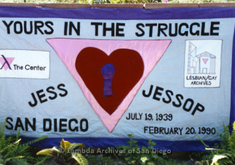"P119.027m.r.t Jess Jessop's AIDS Quilt Panel sewn with ""Yours in the Struggle,"" and patches for The Center and the Lesbian/Gay Archives"