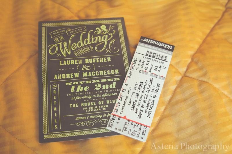 Wedding invitation and concert ticket save the date (Andrew & Lauren)