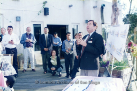 P022.060m.r.t The Center, Centre Street, Donor Appreciation Party: Man talking as people look on