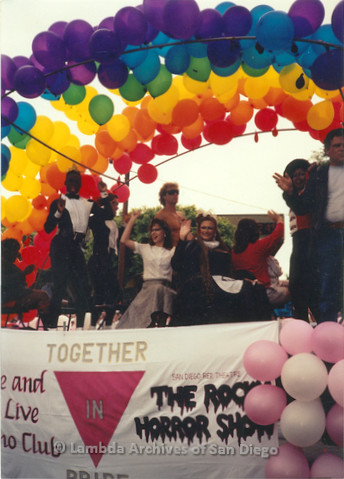 P018.095m.r.t San Diego Pride Parade 1991: The Rocky Horror Show float