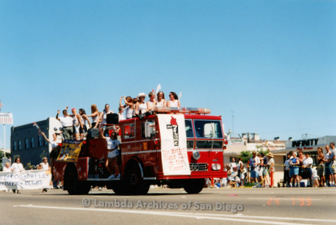 P018.165m.r.t San Diego Pride Parade 1999: The Flame firetruck in parade