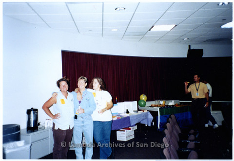 P201.022m.r.t National Coming Out Day at Qualcomm: (L to R) Pam Highfill, Denise Surles, and Andrea Villa standing in Q Auditorium