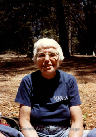 P008.025m.r.t Mt. Palomar 1983: Margaret Lewis at Asher's cabin