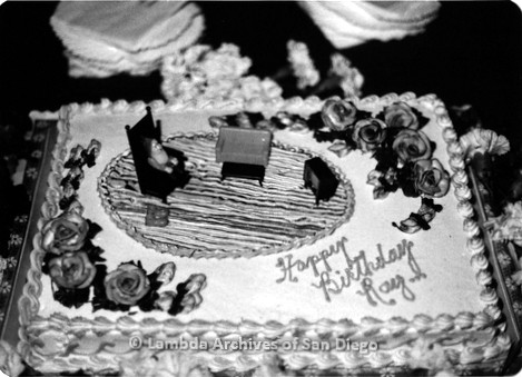 C. 1980 - Ray Finch's Birthday at Diablo's Lesbian bar on El Cajon Blvd: Ray Finch's Birthday Cake.