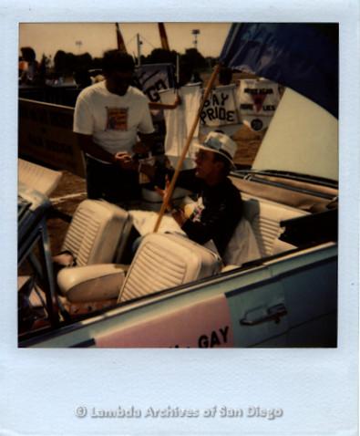 Jess Jessop in San Diego Pride Parade car, c.1989