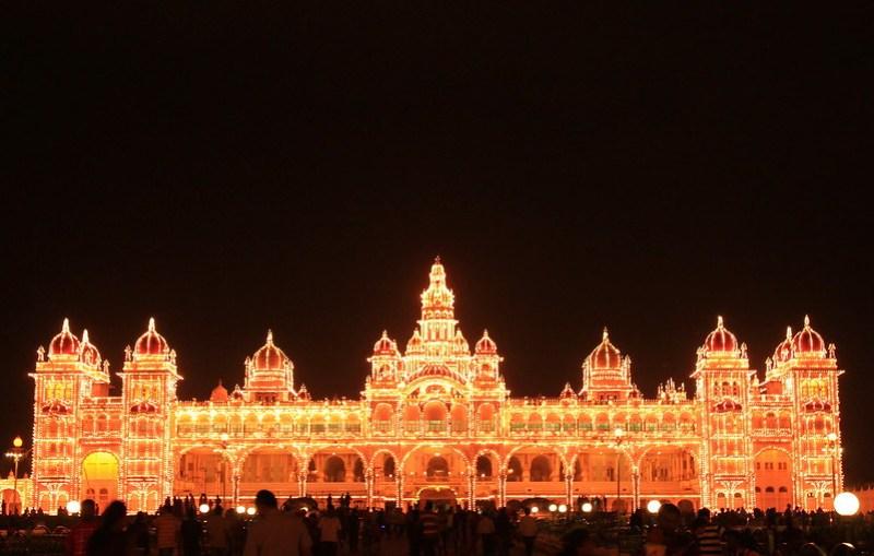 Mysore Palace Illuminated during Dasara 2014