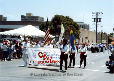 P018.017m.r.t San Diego Pride Parade 1988: Great American Yankee Freedom Band members marching in parade
