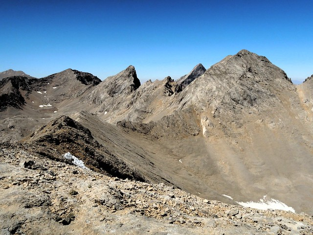 The prominent peak in this photo is Çağalın Başı; we traversed the steep scree as high as we could to gain the ridge on the other side of the peak by bryandkeith on flickr