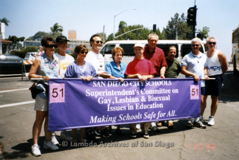 "P122.003m.r.t Photograph of a group holding sign ""Superintendent's Committee on Gay, Lesbian, & Bisexual Issues in Education"""