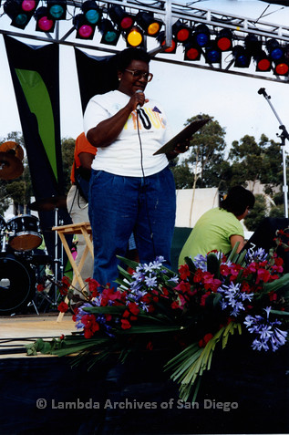 San Diego LGBTQ Pride Festival, July 1992: Vertez Burks speaking at the festival main stage