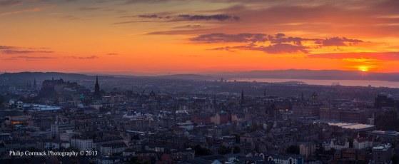 Panoramic View Overlooking Edinburgh at Sunset