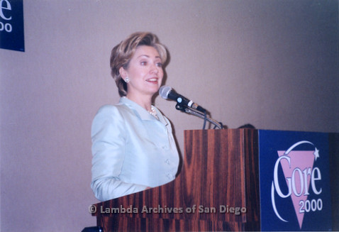 P338.041m.r.t 2000 Democratic National Convention Los Angeles: Hillary Clinton speaking at podium at the Gay Caucus meeting