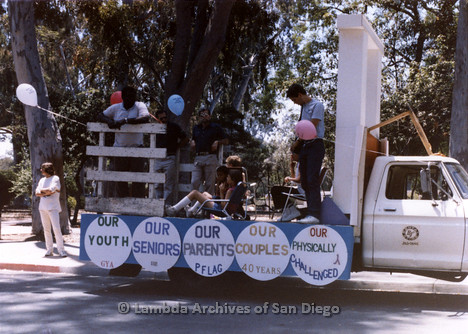 San Diego Lambda Pride Parade: Set Up Area, Group Working on Decorating their Float.