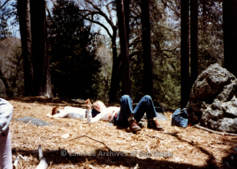 P008.021m.r.t Mt. Palomar 1983: Gretchen Alspach and Diane F. Germain lying on the ground in the sun