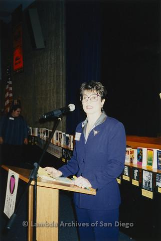 "P122.015m.r.t Youth Speak to GLSEN ""II"": Woman standing behind podium in auditorium"