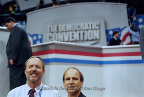 P338.025m.r.t 2000 Democratic National Convention Los Angeles: Charles McKain (left) and Gerry Senda (right) standing in front of convention podium