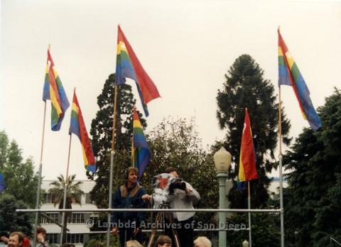 P019.166m.r.t March on Sacramento 1988 / Pre Parade gathering: Cameramen filming the gathering