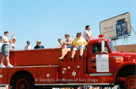 P018.158m.r.t San Diego Pride Parade 1999: Pathfinder Farm firetruck supporting LINC in parade