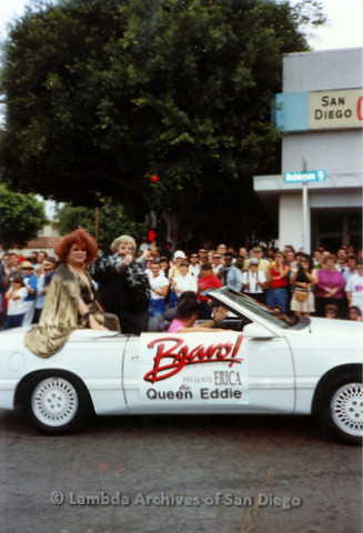 P018.090m.r.t San Diego Pride Parade 1991: Bravo! Queen Erica and Queen Eddie car