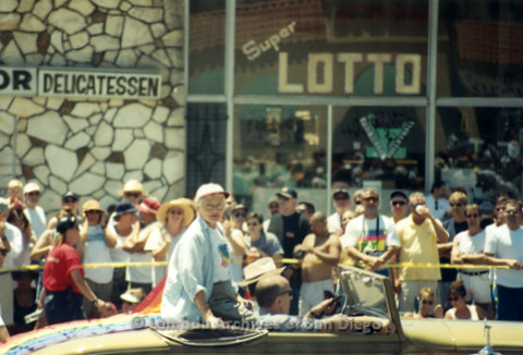San Diego Pride Parade 1998: Betty DeGeneres, Parade Grand Marshall, riding in the back of a convertible