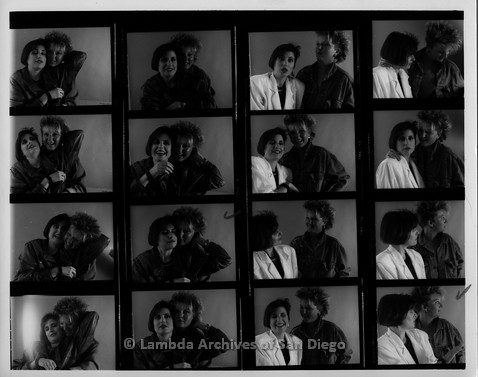 1987 - Portraits of San Diego Lesbian Performer Zanne: Proof print of 16 photos of Zanne and Mary Beckstrom.