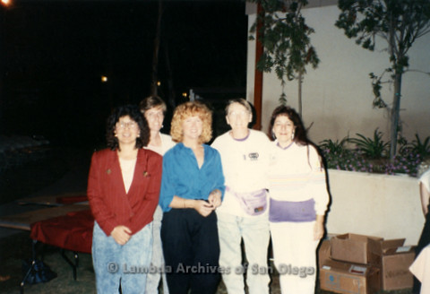 Local San Diego Lesbians (L to R) Irma Cota, Laura Zweckbronner, Folk singer Holly Near (center), Sheila Clark, and Judy Reif standing outside the First Unitarian Universalist (UU) Church in San Diego.
