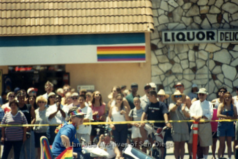 San Diego Pride Parade, July 1998: Women riding on a convertible with spectators watching