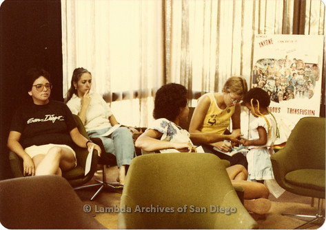 Blood Sisters blood drive, 1983  waiting room of Blood Bank