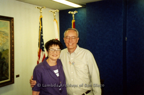 P122.001m.r.t Mayor Dick Murphy and Jan Garbosky together after addressing the LGBT Advisory Board, March 29, 2001