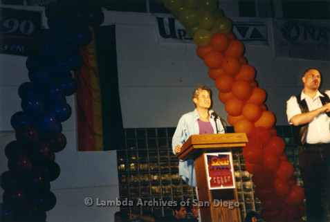 San Diego LGBT Pride Rally, July 1997. Greg Louganis, Key Note Speaker at the 1997 'Out! Free' themed LGBT Pride Events.