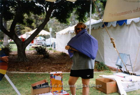 P018.153m.r.t San Diego Pride Festival 1998: Volunteers setting up Center booth