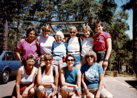 P008.043m.r.t Mt. Laguna 1983: Group photo with Aida, Margaret Lewis, Diane F. Germain, Mary Revere, Diane Hammer, Lauri, Sharon, Ann, and Marcie