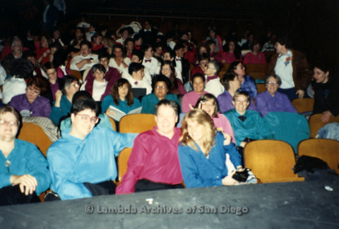 San Diego Women's Chorus (SDWC) first choral festival with Sister Singers 1991: SDWC listening to other groups perform, including couple Carol Reagan (left) and Cathy Rockdashil (front middle), Jill Waters (right)