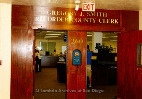 "P249.013m.r.t First Same Sex Weddings in San Diego: Doorway of ""Gregory J. Smith Recorder County Clerk"""