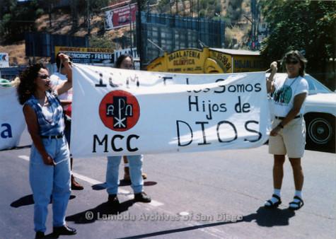 P018.133m.r.t Tijuana Pride Parade 1996: Metropolitan Community Church banner