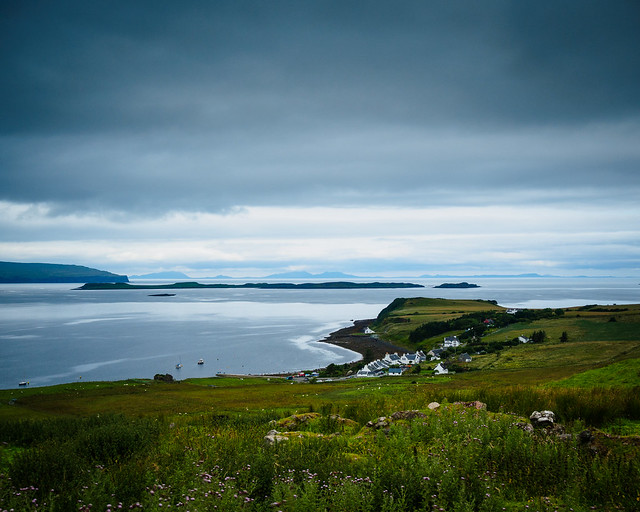 Looking towards Stein and out across Loch Bay, Isle of Skye