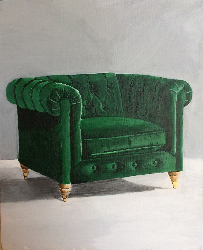 SOLD Megan LeForte, Green Club, Acrylic on Board