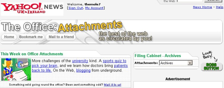 Yahoo Office Attachments Screengrab
