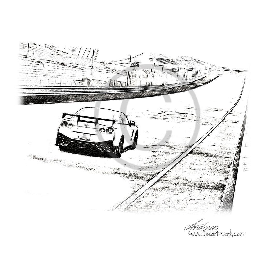 Nissan Gt R Nismo Pencil Drawing By Neart Work