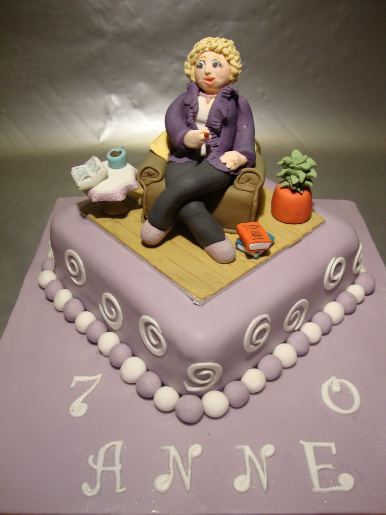 70th Birthday Cake With Woman In Armchair The Request From Flickr