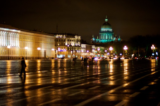 Palace Square At Night Saint Petersburg Saint