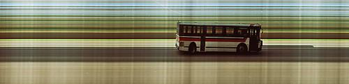 Trimet bus passing my house, slit scan image